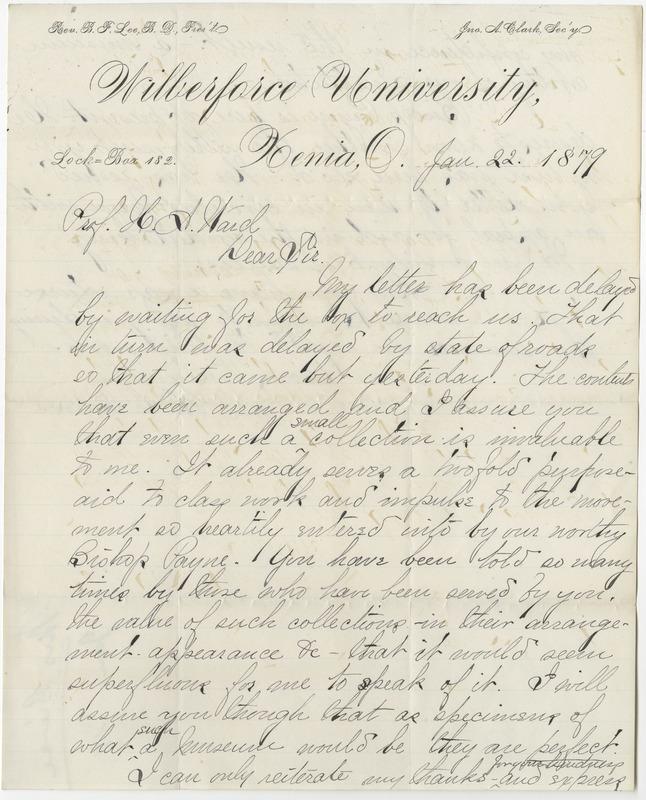 Bierce, S. C. Letter to Ward, Henry A. (1879-01-22)