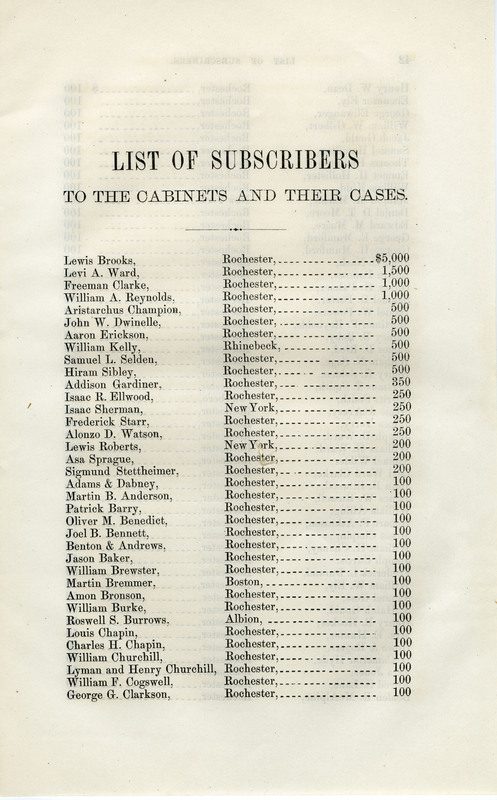 Notice of the Ward cabinets...the University of Rochester (1863)