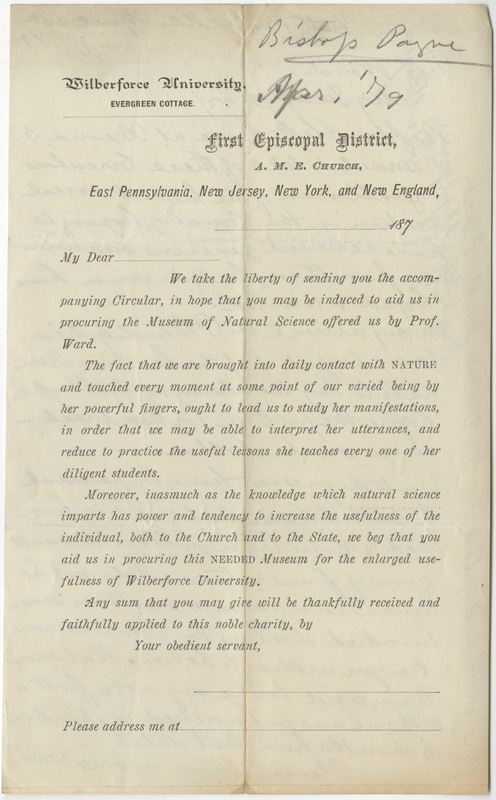 Payne, D. A. Letter to Ward, Henry A. (1879-04-30); Printed Circular to raise funds for Wilberforce Cabinet