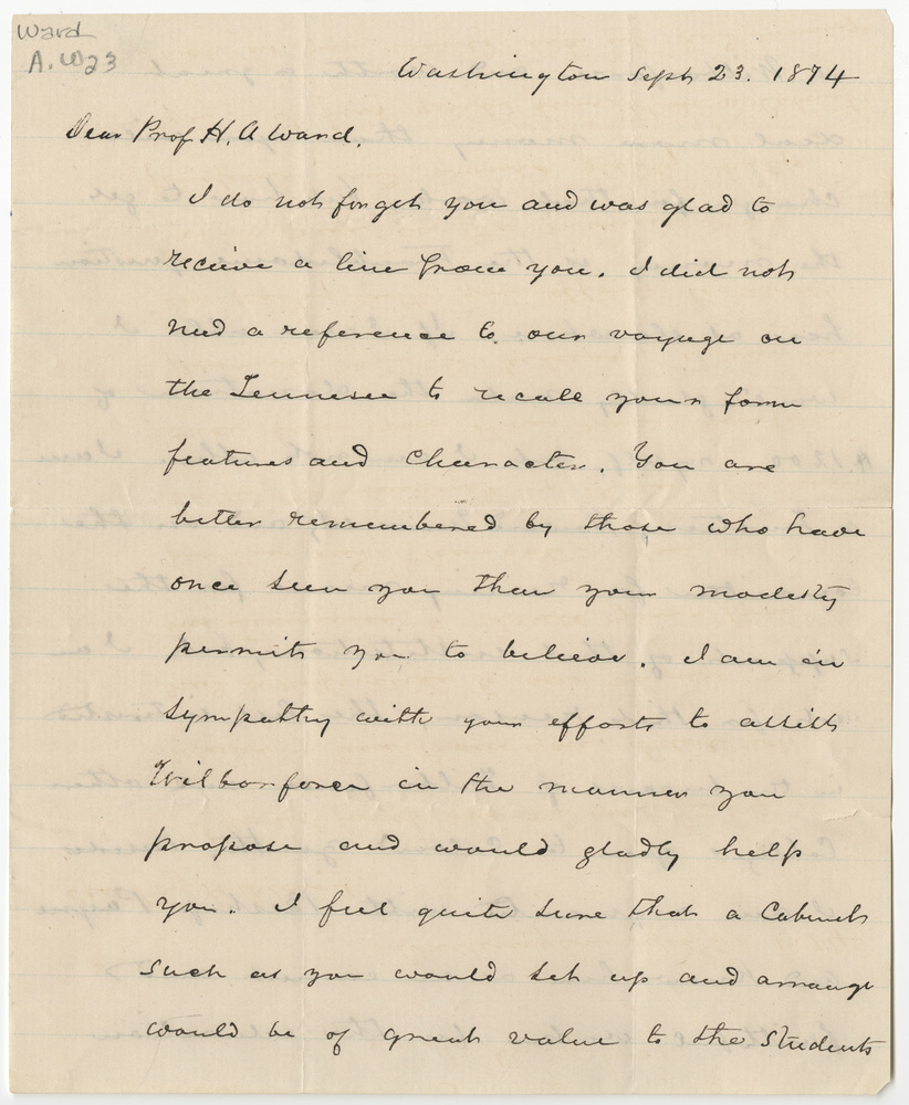 Douglass, Frederick. Letter to Ward, Henry A (1874-09-23)