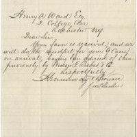Hemenway and Browne. Letter to Ward, Henry A. (1876-10-21)