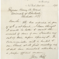 Spofford. Letter to Ward, Henry Augustus. (1873-10-21)