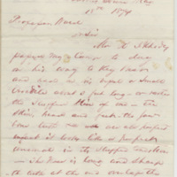 Williams, M. A. Letter to Ward, Henry Augustus. (1874-05-18)