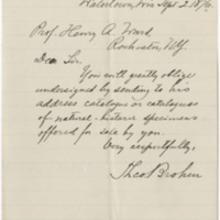 Broker, Theo.  Letter to Ward, Henry Augustus (1876-09-02)