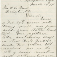 [Austin, B.] Letter to Ward, Henry Augustus. (1876-03-16)