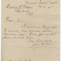 Shorten, John W. Letter to Ward, Henry A. (1884-11-01)