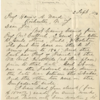 Lee, George Washington Custis. Letter to Ward, Henry Augustus (1876-09-02)