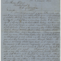 Adams, William.  Letter to Ward, Henry Augustus. (1873-12-03)
