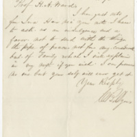 Dyer. Letter to Ward, Henry Augustus. (1873-11-16)