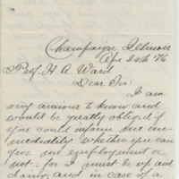 Wild, George A. Letter to Ward, Henry A. (1876-04-24)