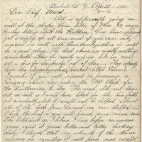 Lucas, Frederic A. (Frederic Augustus). Letter to Ward, Henry A. (1881-04-28)