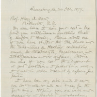 Cowan, Frank. Letter to Ward, Henry A. (1879-10-24)