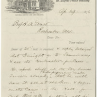 Williston, A. Lyman. Letter to Ward, Henry A. (1876-04-29)