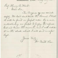 Rice, William North. Letter to Ward, Henry A. (1884-05-31)