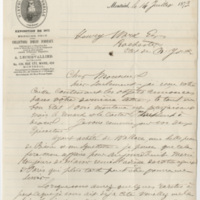 Lechevallier, A. Letter to Ward, Henry A. (1873-07-14)