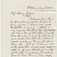 Lacoe, R. D. Letter to Ward, Henry Augustus. (1874-05-26)
