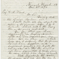 Culver, S. Letter to Ward, Henry Augustus. (1873-12-08)