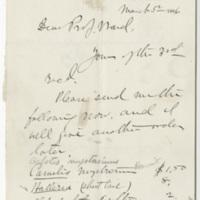 Marsh, Othniel Charles. Letter to Ward, Henry A. (1886-03-05)