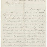 Lane, A. Letter to Ward, Henry Augustus. (1873-12-15)