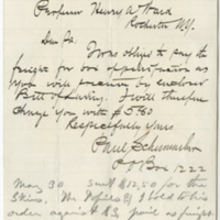Schumacker, Paul. Letter to Ward, Henry Augustus (1876-03-19)