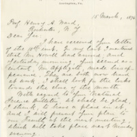 Lee, George Washington Custis. Letter to Ward, Henry Augustus (1876-03-15)