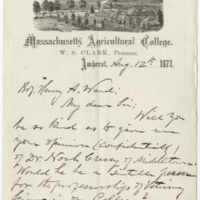 Clark, W. S. Letter to Ward, Henry Augustus. (1873-08-12)