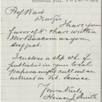 Smith, Horace J. Letter to Ward, Henry A. (1875-12-10)