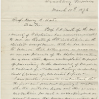 Kean, R. G. H. Letter to Ward, Henry Augustus. (1876-03-18)
