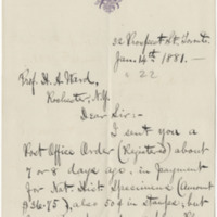 Montgomery, Henry. Letter to Ward, Henry A. (1881-01-14)