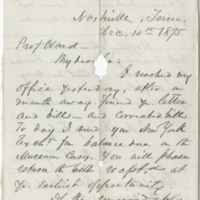 McTyeire, Holland Nimmons. Letter to Ward. (1875-12-10)