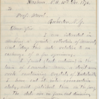 York, William F. Letter to Ward, Henry Augustus. (1873-12-15)