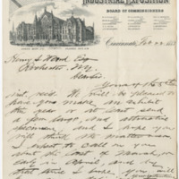 Dudley, W. L. Letter to Ward, Henry Augustus. (1883-02-22)