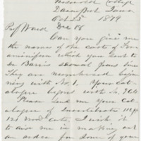 Sheldon, D. S. Letter to Ward, Henry A. (1879-10-23)