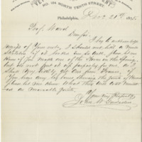Gadsden, John W. Letter to Ward, Henry A. (1875-12-21), page 1