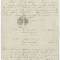 Eady, O. Letter to Ward, Henry Augustus. (1874-02-13)