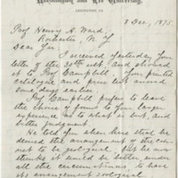 Lee, George Washington Custis. Letter to Ward, Henry A. (1875-12-08)