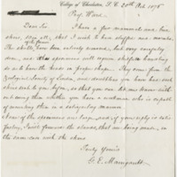 Manigault, G. E. Letter to Ward, Henry A (1876-10-20)