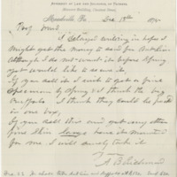 Richmond, A. B. Letter to Ward, Henry A. (1875-12-18). Page 1