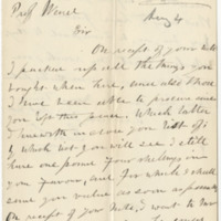 Sim, George.  Letter to Ward, Henry A. (1877-07-14)