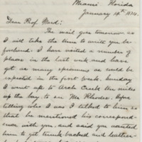 Hornaday, W. T. Letter to Ward, Henry Augustus. (1874-01-14)