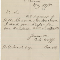 Wolff, C.E. Letter to Ward, Henry Augustus (1883-05-19). Page 1