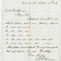 Vorce, C. M. Letter to Baldwin, C. A. (1876-03-20)