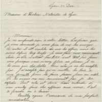 Lortet, Louis Charles Émile. Letter to Ward, Henry A. (1875-12-22)