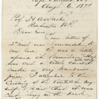 Sackett, D. B. Letter to Ward, Henry A. (1877-08-06)