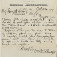 McClure, William L. Letter to Ward, Henry A. (1879-10-24)