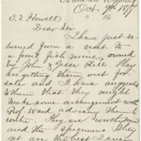 Peale, A. C. Letter to Howell, Edwin E. (1877-10-09)