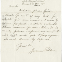 Allen, Jerome. Letter to Ward, Henry A. (1876-11-15)