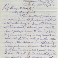 Allen, George N. Letter to Ward, Henry Augustus. (1873-07-28)