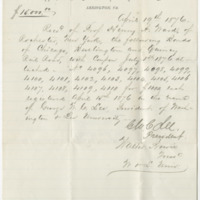 Lee, George Washington Custis. Receipt for specimens provided by Ward's.(1876-04-19)