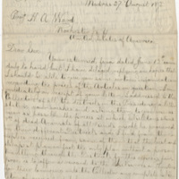 Dudley, W. L. Letter to Ward, Henry Augustus. (1873-08-27)